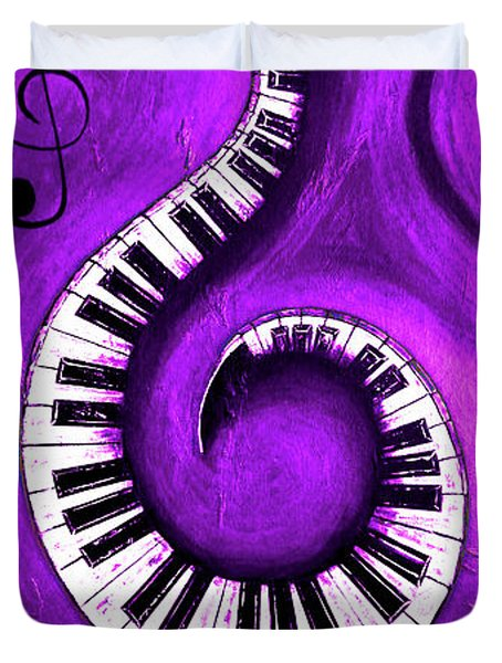 Purple - Swirling Piano Keys - Music In Motion  Duvet Cover