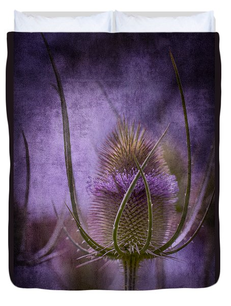 Duvet Cover featuring the photograph Purple Teasel by Clare Bambers