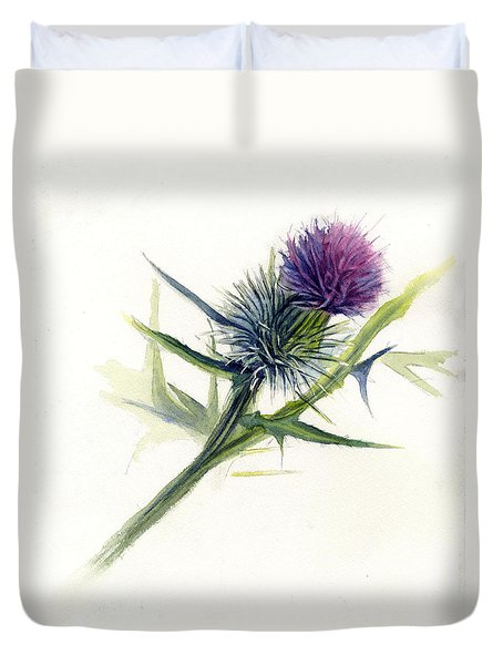 Purple Thistle Duvet Cover by Leslie Redhead