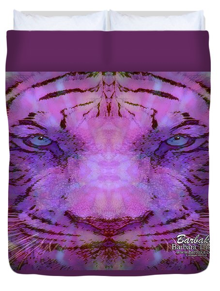 Duvet Cover featuring the photograph Purple Tiger by Barbara Tristan
