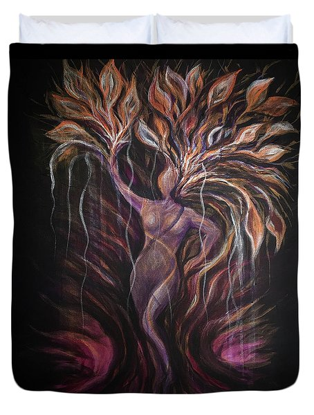Purple Tree Goddess Duvet Cover