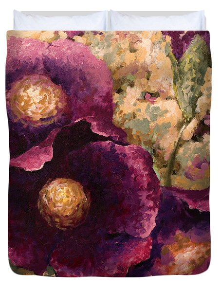Purple Trio-flowers Duvet Cover