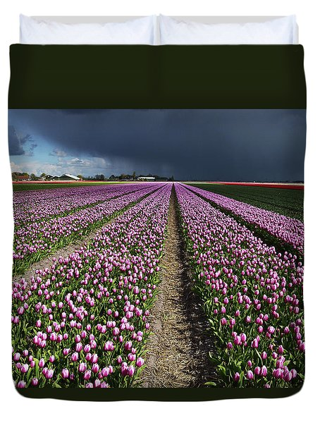 Purple Tulips Field Duvet Cover