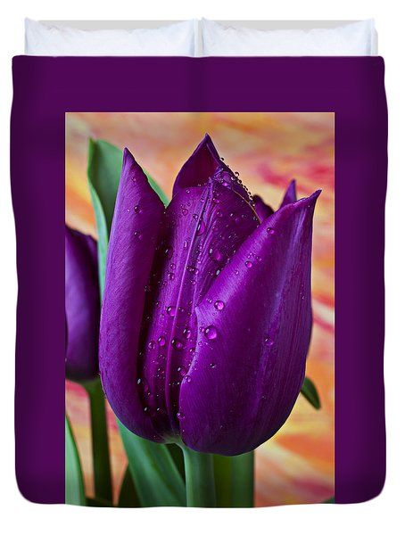 Purple Tulip Duvet Cover by Garry Gay