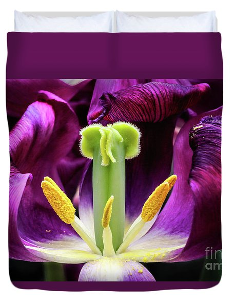 Purple Tulip Macro Duvet Cover