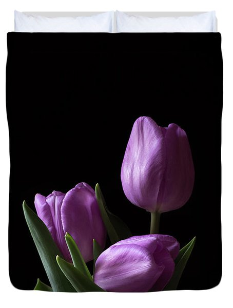 Duvet Cover featuring the photograph Purple Tulips by Andrea Silies
