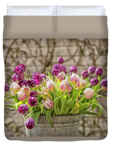 Duvet Cover featuring the photograph Purple Tulips In A Bucket by Patricia Hofmeester