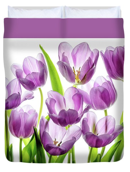 Purple Tulips Duvet Cover by Rebecca Cozart