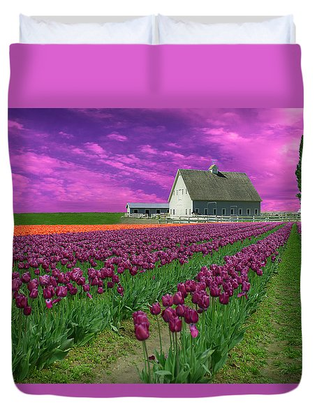 Purple Tulips With Pink Sky Duvet Cover