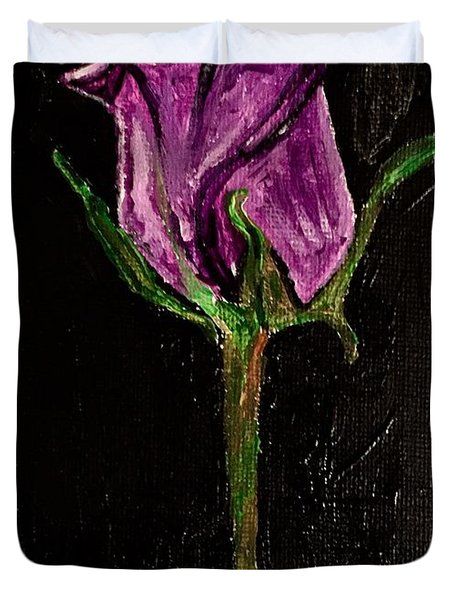 Purple Under The Moon's Glow Duvet Cover
