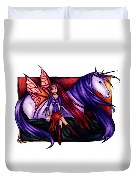Purple Unicorn With Fairy Friend Duvet Cover