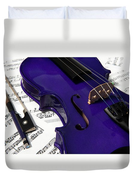 Purple Violin And Music V Duvet Cover