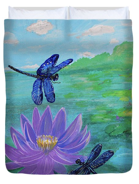 Purple Water Lily And Dragonflies Duvet Cover