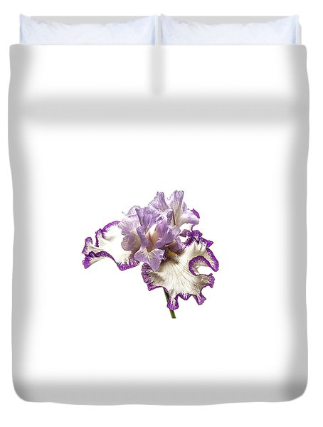Purple White Iris Duvet Cover