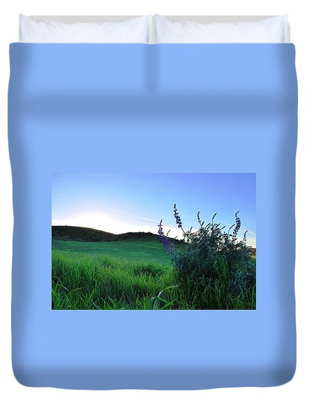 Duvet Cover featuring the photograph Purple Wildflowers In Beautiful Green Pastures by Matt Harang
