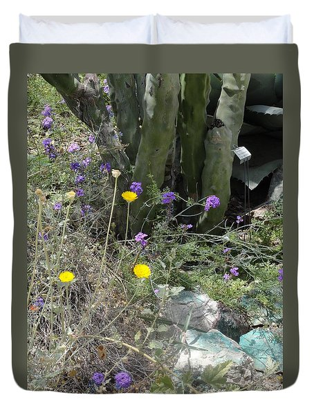 Purple Yellow Flowers Green Cactus Duvet Cover