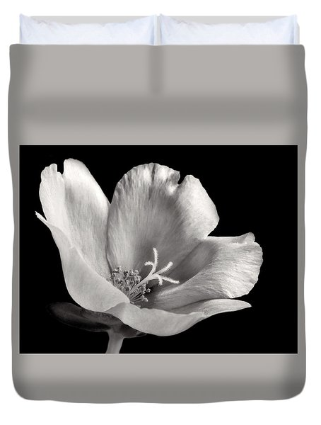 Duvet Cover featuring the photograph Purslane In Monochrome by David and Carol Kelly