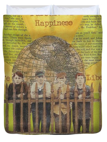 Duvet Cover featuring the mixed media Pursuit Of Happiness by Desiree Paquette