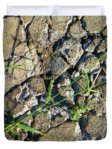 Pushing Through Concrete Duvet Cover by Lenore Senior