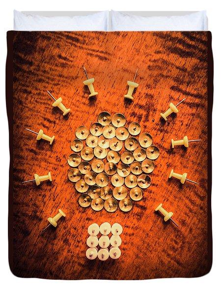 Pushpins Arranged In Light Bulb Icon Duvet Cover