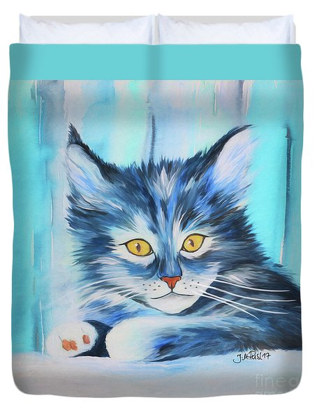 Duvet Cover featuring the painting Pussy Cat by Jutta Maria Pusl