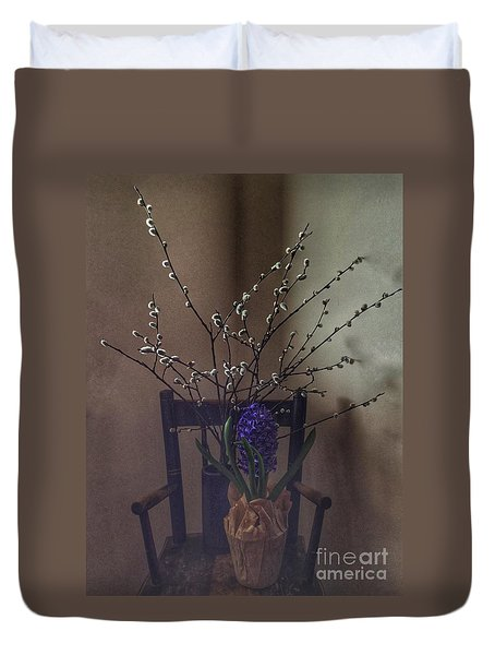Pussy Willow And Hyacinth Still Life Duvet Cover
