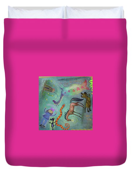 Duvet Cover featuring the painting Pussyhat Energy by Marti McGinnis