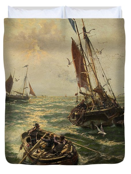 Putting The Catch Ashore Duvet Cover by Thomas Rose Miles