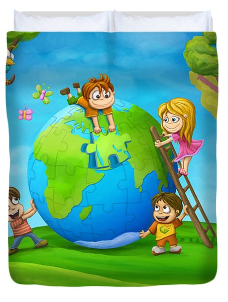 Puzzle World Duvet Cover