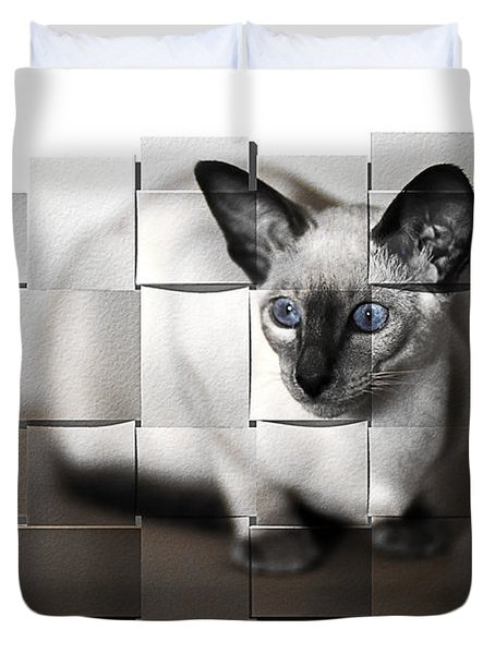Puzzled Kitty Duvet Cover