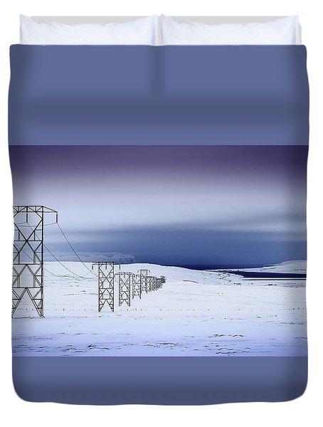 Pylons, Iceland Duvet Cover
