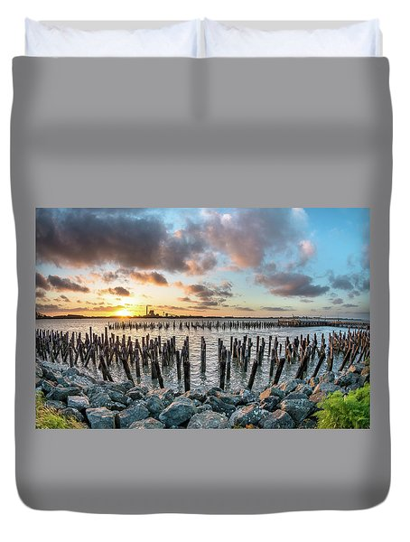Duvet Cover featuring the photograph Pylons Mill Sunset by Greg Nyquist
