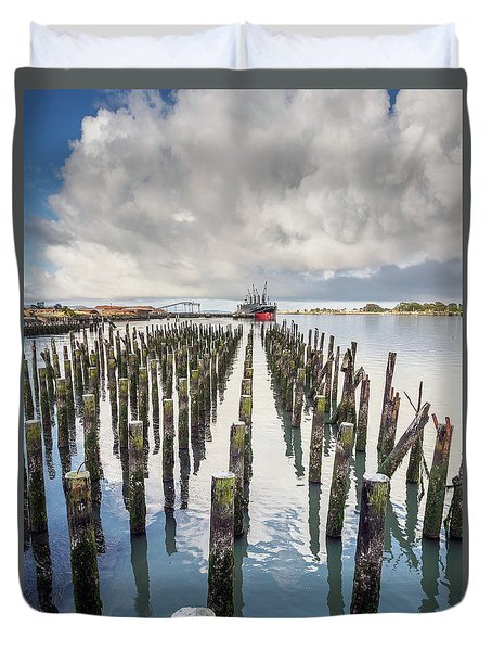 Duvet Cover featuring the photograph Pylons To The Ship by Greg Nyquist