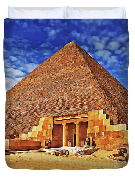 Duvet Cover featuring the painting Pyramid by Harry Warrick