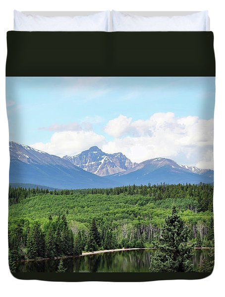 Duvet Cover featuring the photograph Pyramid Island - Jasper Ab. by Ryan Crouse