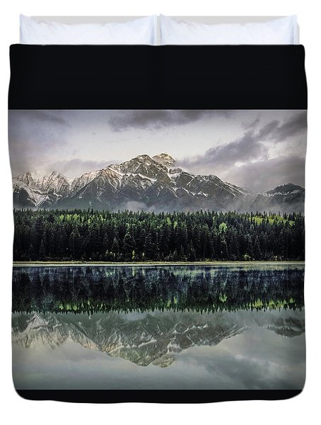 Duvet Cover featuring the photograph Pyramid Mountain 2006 02 by Jim Dollar