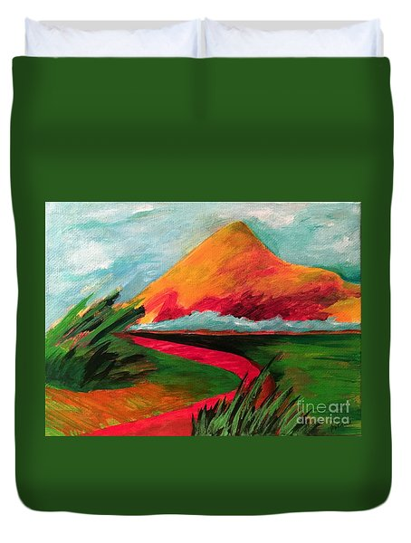 Duvet Cover featuring the painting Pyramid Mountain by Elizabeth Fontaine-Barr