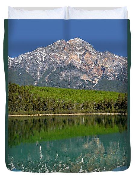 Pyramid Mountain Reflection Duvet Cover
