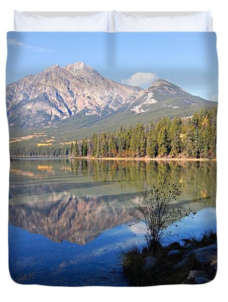 Pyramid Moutain Reflection Duvet Cover