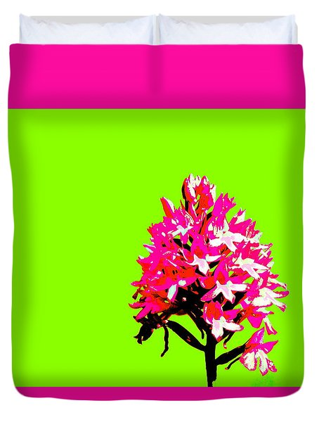 Green Pyramid Orchid Duvet Cover
