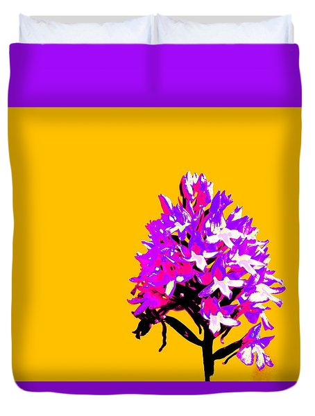 Orange Pyramid Orchid  Duvet Cover