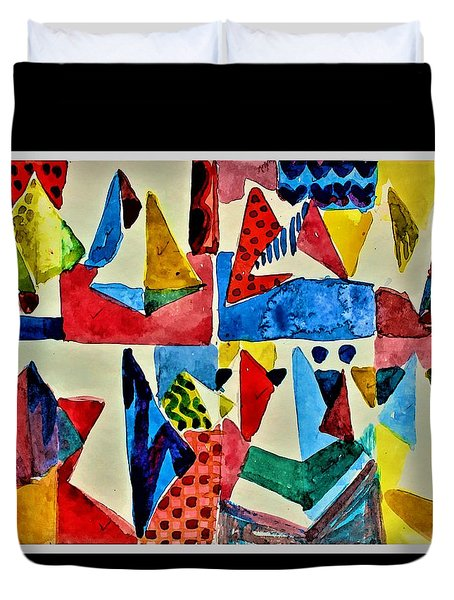 Duvet Cover featuring the digital art Pyramid Play by Mindy Newman