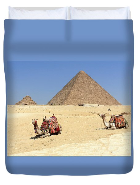 Duvet Cover featuring the photograph Pyramids Of Giza by Silvia Bruno