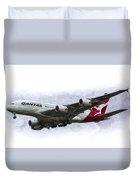 Qantas Airbus A380 Art Duvet Cover