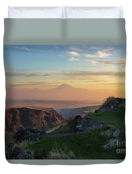 Qasakh Gorge And Ararat Mountain At Golden Hour Duvet Cover