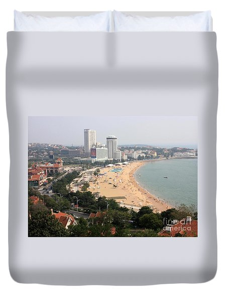 Qingdao Beach With Skyline Duvet Cover by Carol Groenen