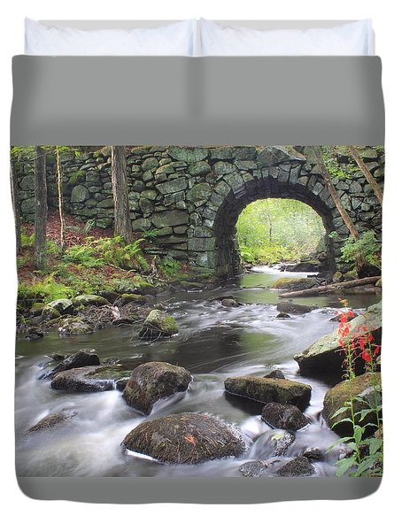 Quabbin Reservoir Keystone Bridge And Cardinal Flowers Duvet Cover