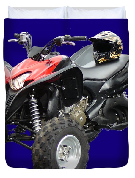 Quad Bike And Helmet Duvet Cover