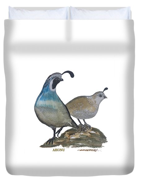 Quail Parents Wondering Duvet Cover