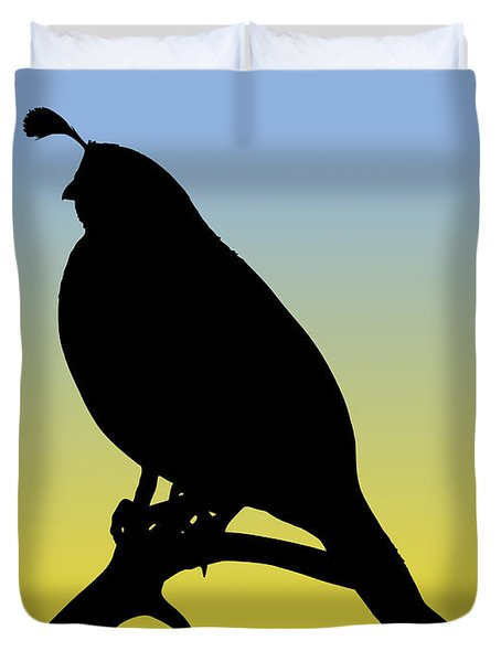 Quail Silhouette At Sunrise Duvet Cover